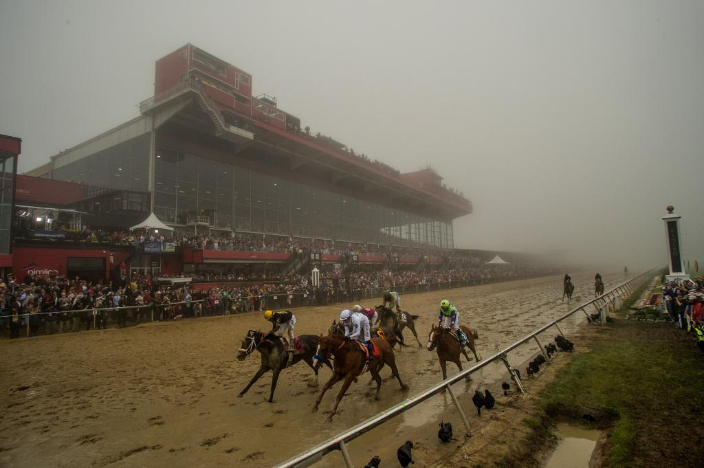 The Preakness runners gallop out past the finish line with Justify victorious. (Eclipse Sportswire)