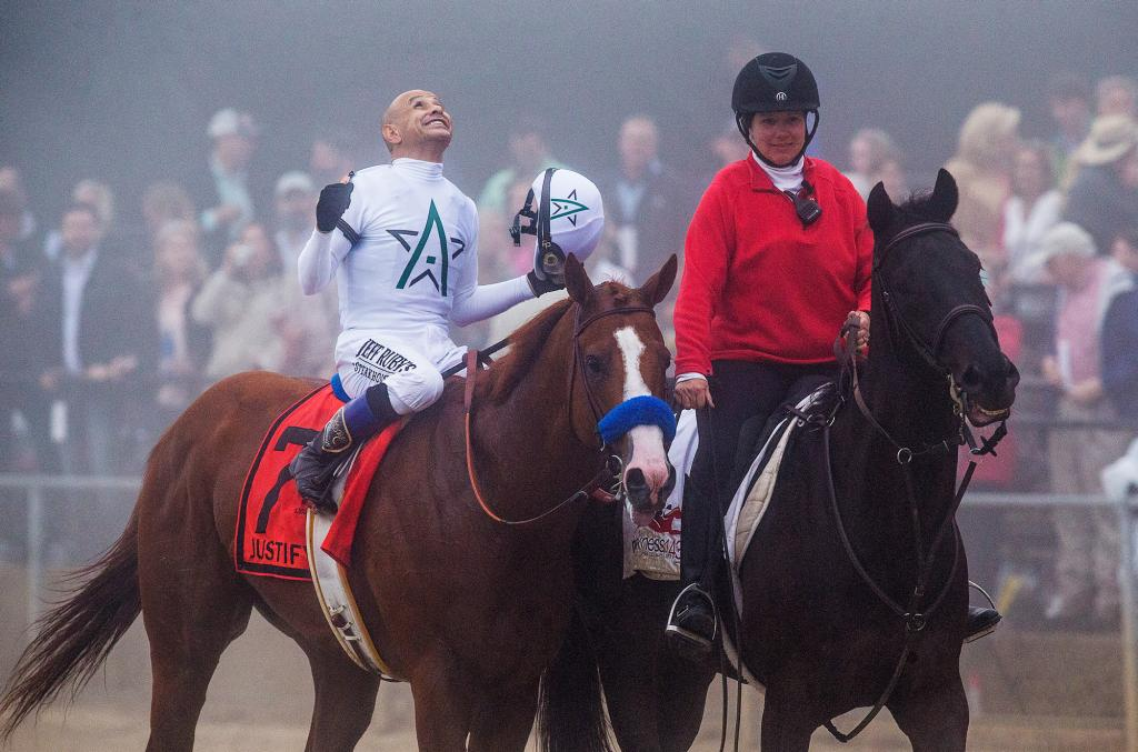 Hall of Fame jockey Mike Smith celebrates his Preakness victory aboard Justify. (Eclipse Sportswire)