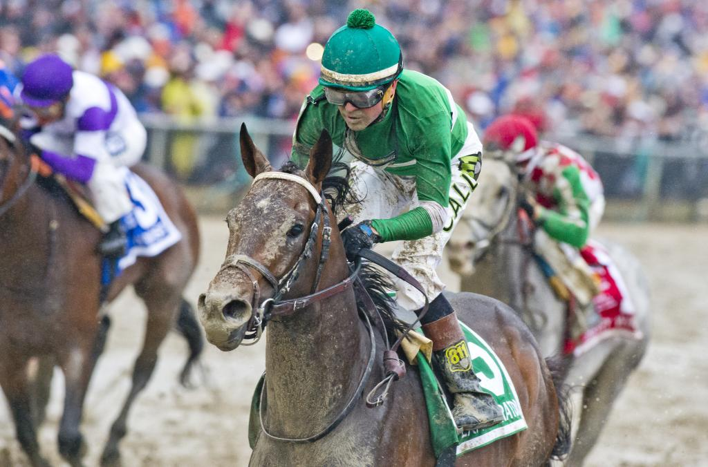A muddy Exaggerator crosses the wire with his ears pricked. (Eclipse Sportswire)