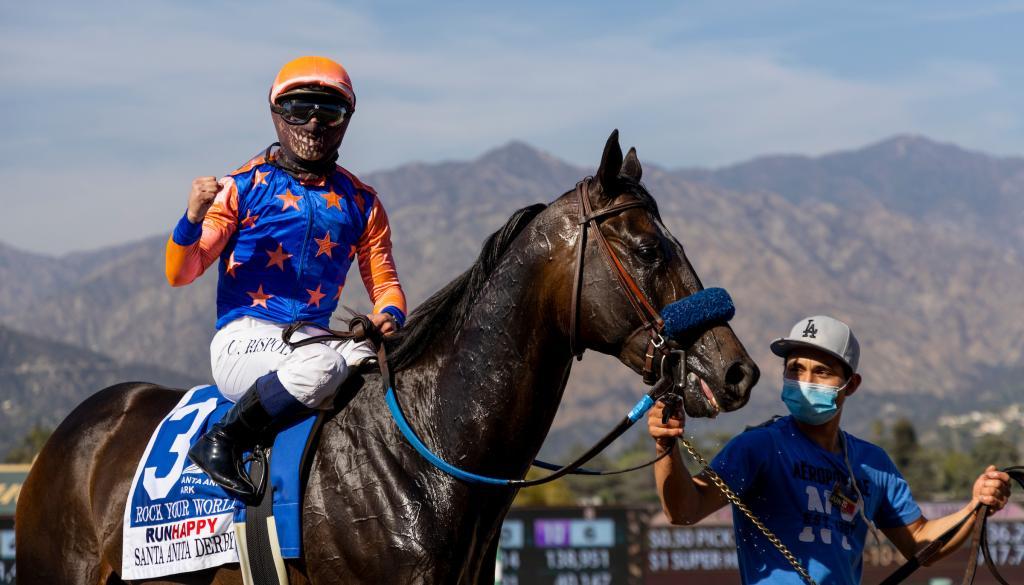 Runhappy Santa Anita Derby winner Rock Your World.