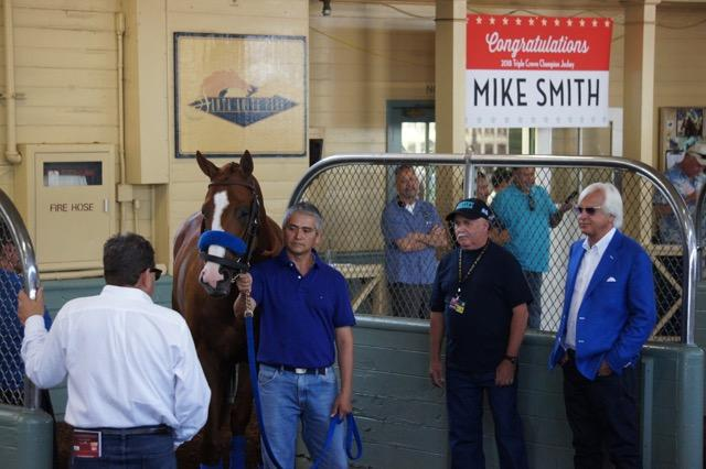 In the saddling barn, outside the jockeys' room. (Cynthia Holt photo)
