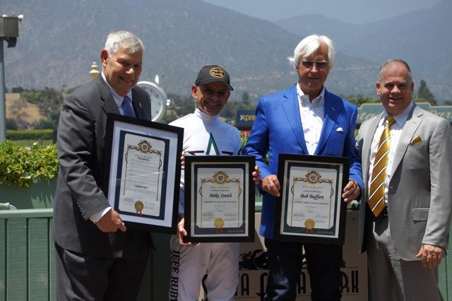 Left to right: Arcadia Councilman Chandler, Smith, Baffert, and COO of The Stronach Group, Tim Ritvo (Cynthia Holt photo)