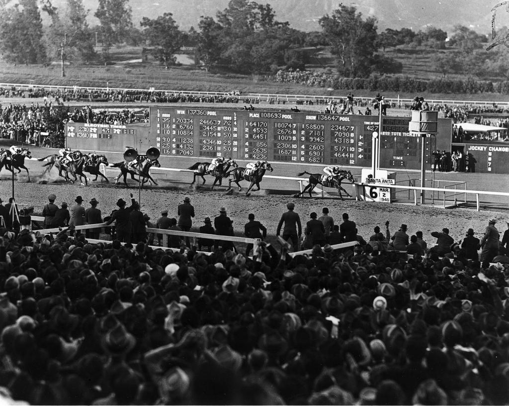 Seabiscuit and jockey Red Pollard win the 1940 Santa Anita Handicap. (Blood-Horse Library)