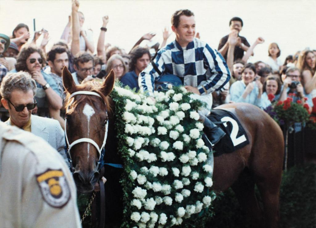 Secretariat and jockey Ron Turcotte after winning the 1973 Belmont Stakes. (BloodHorse Library)