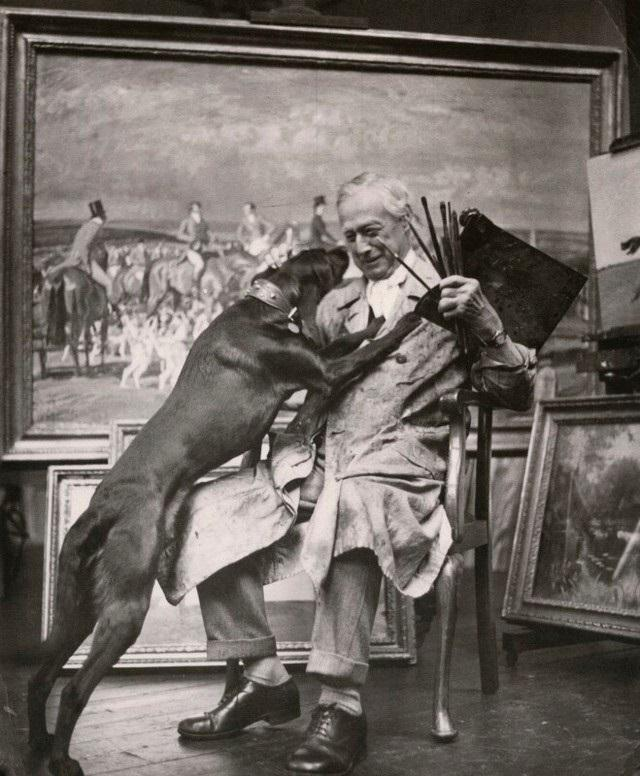 Sir Alfred Munnings in his studio. (Courtesy of Cross Gate Gallery)