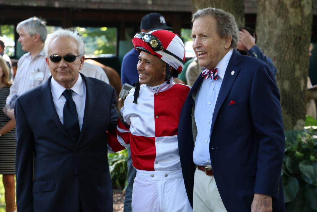 Trainer Jerry Hollendorfer, jockey Mike Smith and owner Rick Porter. (Penelope P. Miller/America's Best Racing)