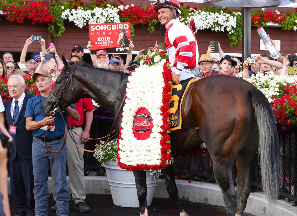Songbird after winning the 2016 Alabama Stakes. (Eclipse Sportswire)