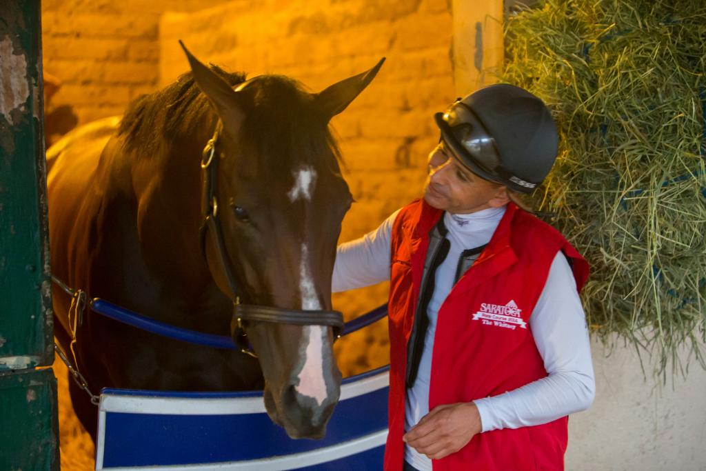 Songbird with Hall of Fame jockey Mike Smith in summer 2016. (Eclipse Sportswire)