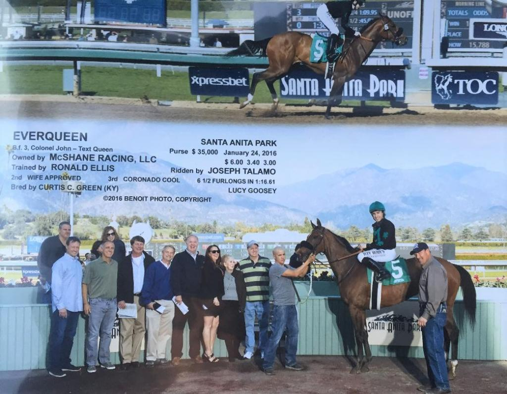 The McShanes' first win photo with Everqueen (Courtesy of the McShane family)