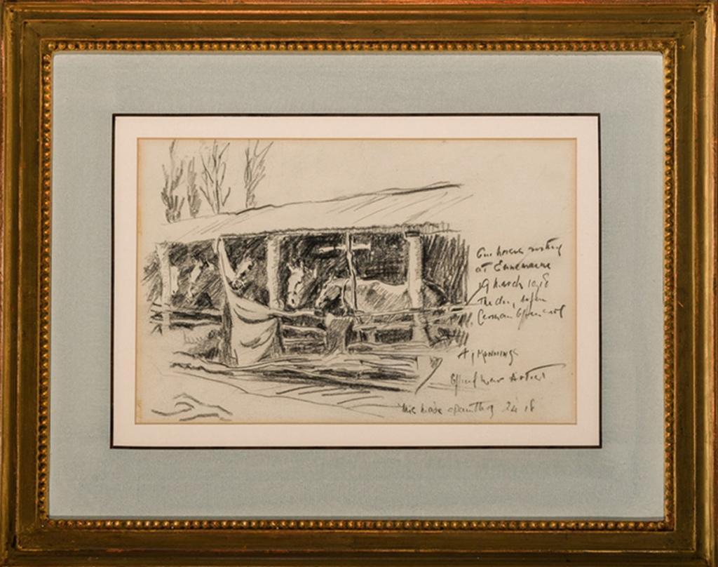 The Strathcona Horse Lines in France sketch, by Sir Alfred Munnings (Courtesy of Cross Gate Gallery)