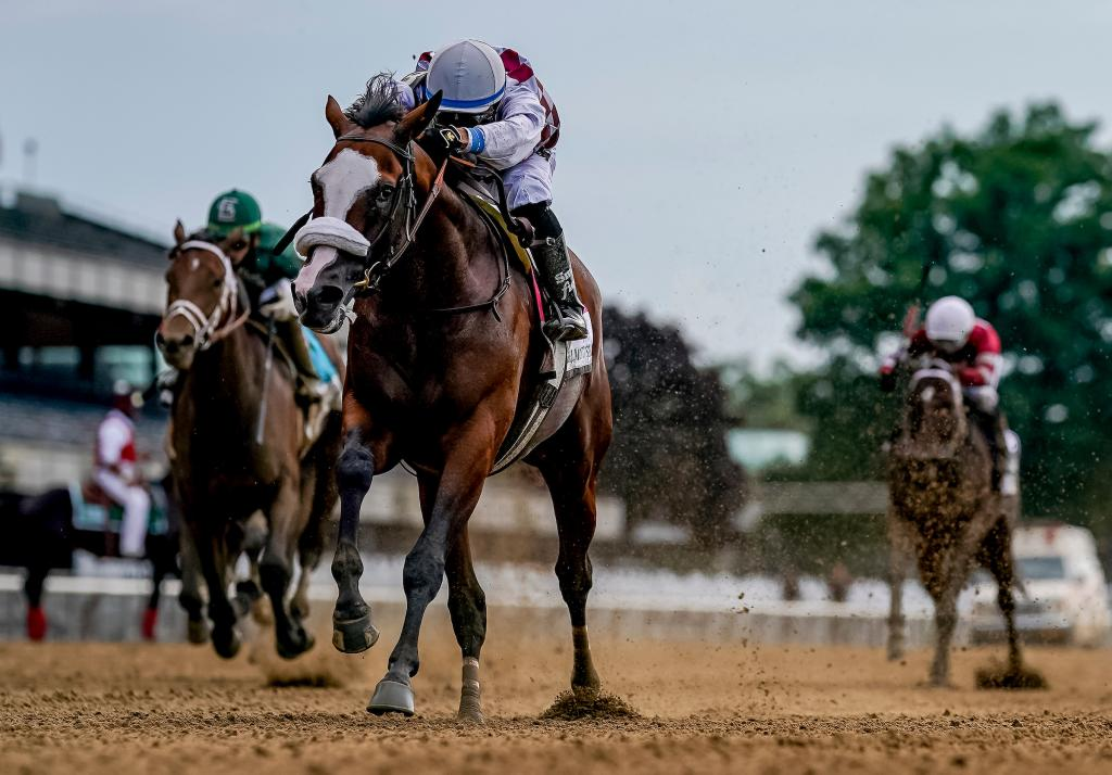 Tiz the Law winning the Belmont Stakes Presented by NYRA Bets.