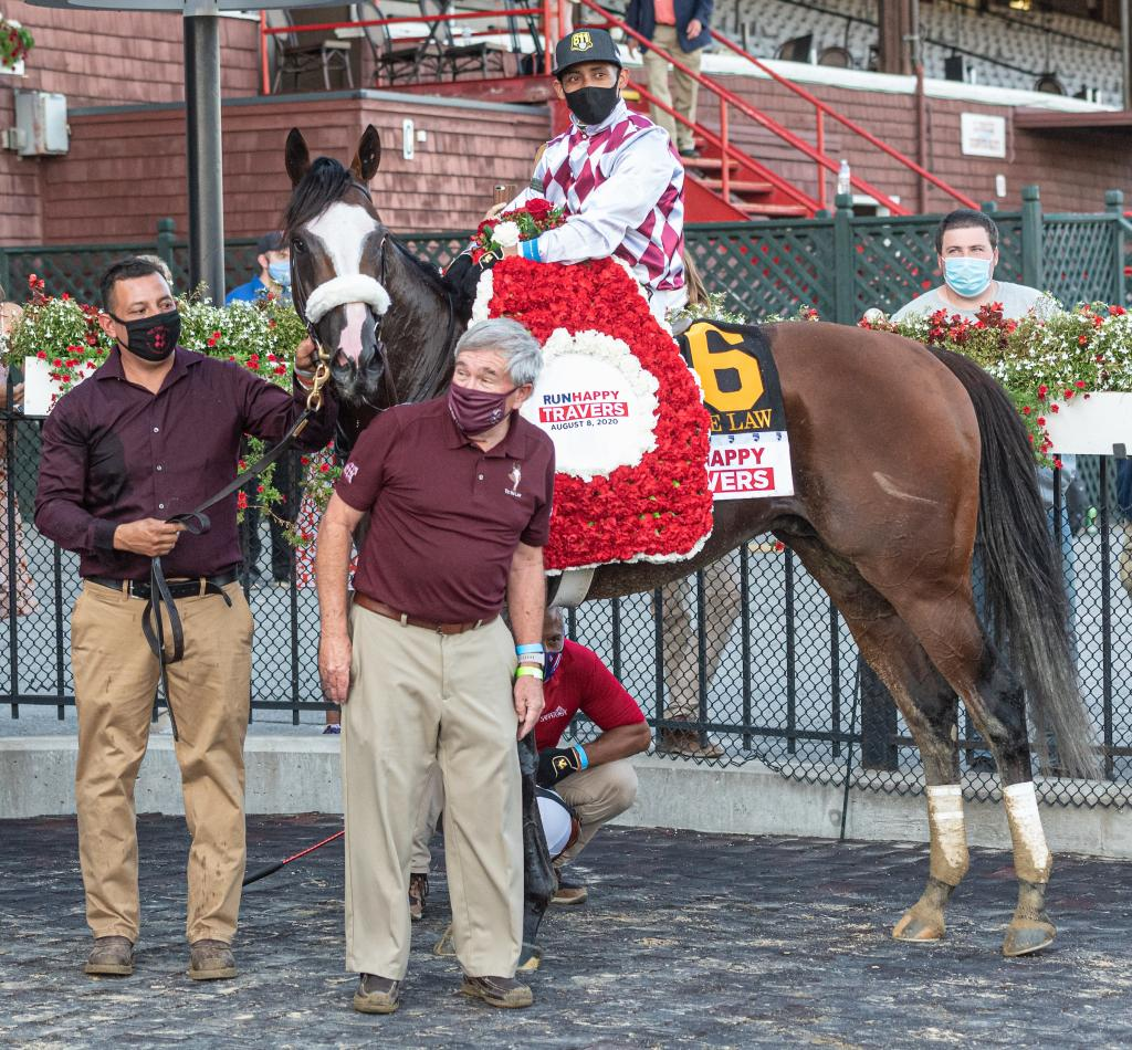 Tiz the Law after winning the Runhappy Travers Stakes.
