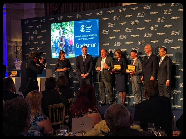 The Oppenheimer family and jockey Frankie Dettori accepting Cracksman's 2018 Longines World's Best Racehorse Award  (America's Best Racing photo)