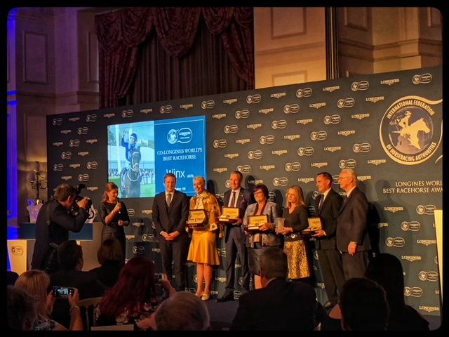 Patricia and Peter Tighe and Debbie Kepitis, co-owners of Winx, and trainer Chris Waller accepting the 2018 Longines World's Best Racehorse Award  (America's Best Racing photo)