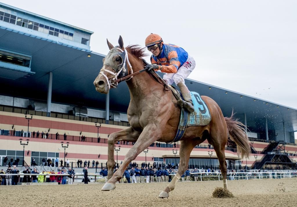 Vino Rosso winning the Wood Memorial Stakes on April 7 at Aqueduct. (Eclipse Sportswire)