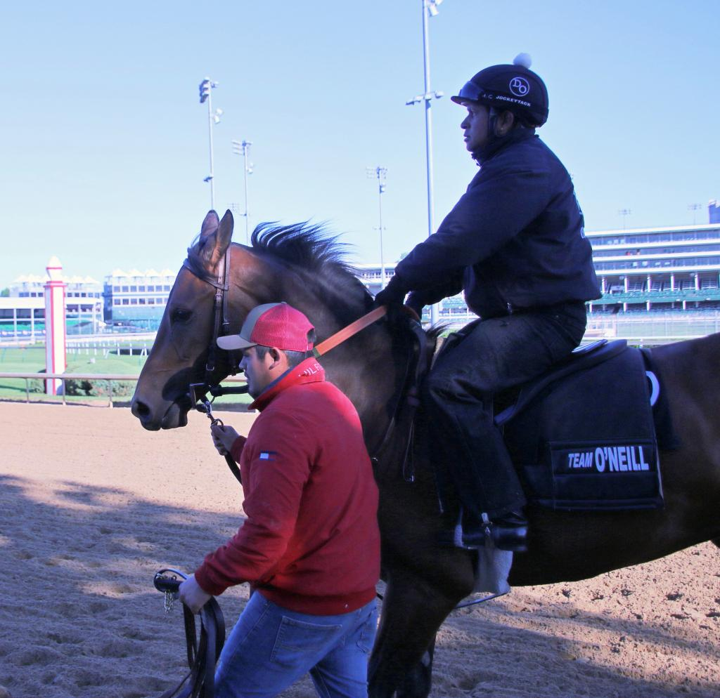 Robles walks Irap back from the track. (Julie June Stewart photo)