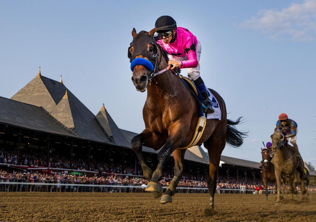 West Coast winning the 2017 Travers Stakes. (Eclipse Sportswire)