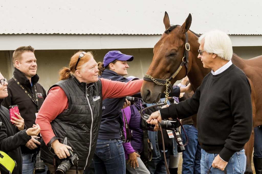 Bob Baffert takes American Pharoah around to greet his fans after the 2015 Breeders' Cup. (Eclipse Sportswire)
