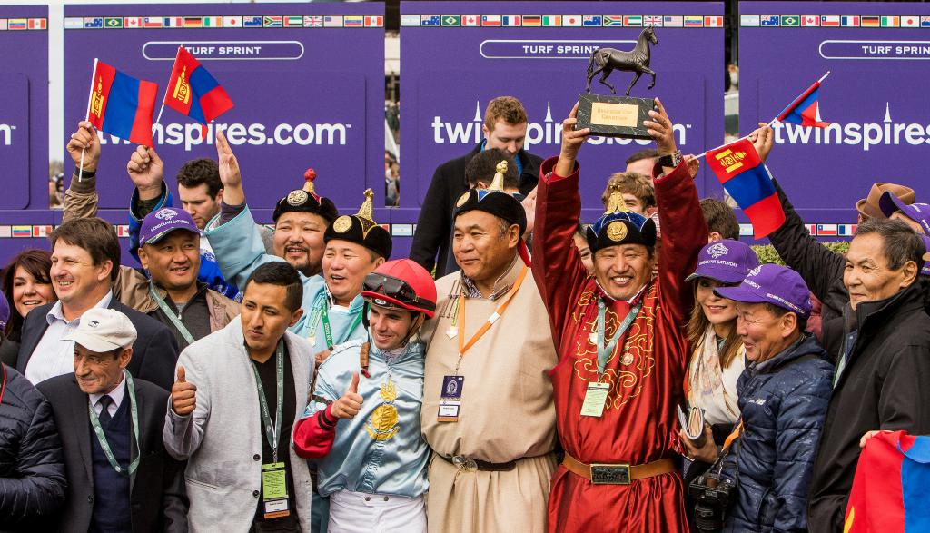 Celebration after Mongolian Saturday prevailed in the TwinSpires Breeders' Cup Turf Sprint.