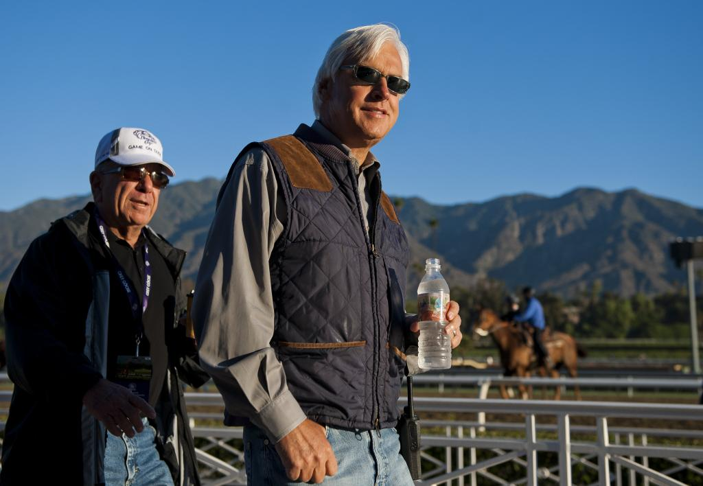 Baffert observing at the track during Breeders' Cup preparations. (Eclipse Sportswire)