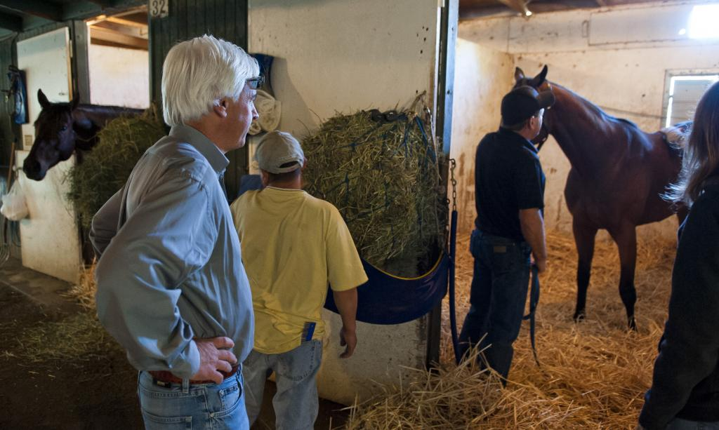 Baffert at the barn after morning workouts checking up on his horses. (Eclipse Sportswire)