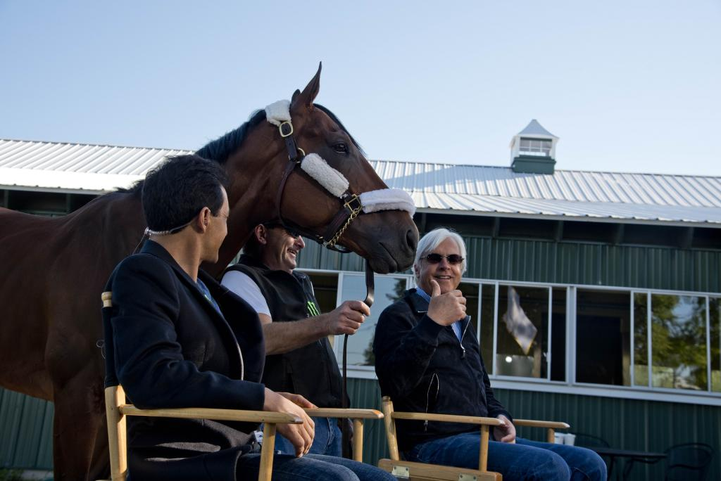 American Pharoh, jockey Victor Espinoza and Hall of Fame trainer Bob Baffert the morning after Pharoah's 2015 Belmont Stakes win. (Eclipse Sportswire)