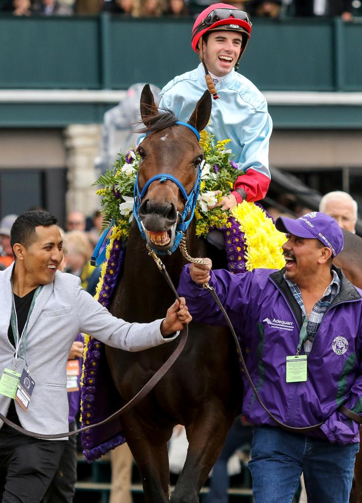 Mongolian Saturday prevailed in the TwinSpires Breeders' Cup Turf Sprint under jockey Florent Geroux.