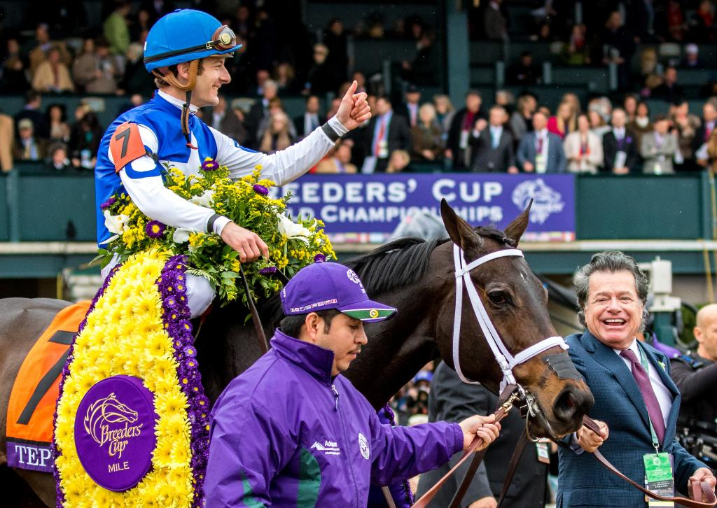 Tepin drew clear under Julien Leparoux to win the Breeders' Cup Mile by 2 1/4 lengths.