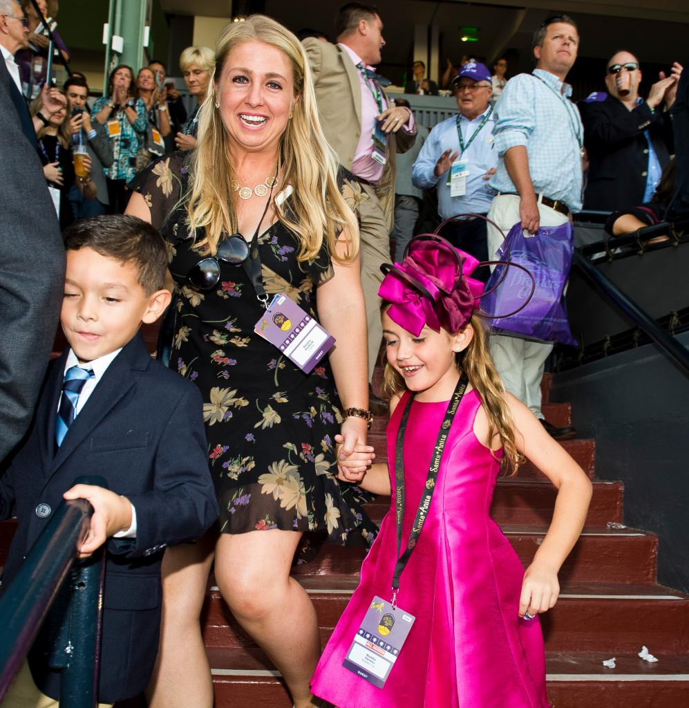 Gary Stevens daughter Maddie rushes to the winner's circle. (Eclipse Sportswire)