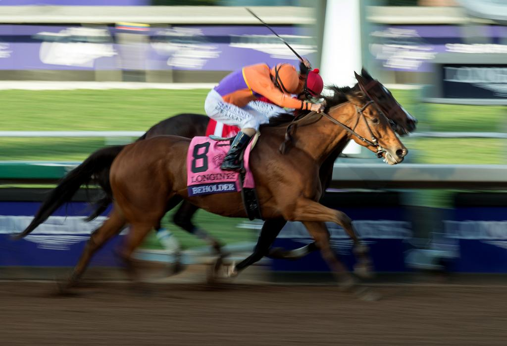 Beholder and Songbird battle through the stretch in the DIstaff. (Eclipse Sportswire)