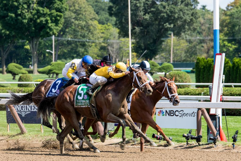 Cavorting rallied to win the Personal Ensign Stakes.  (Eclipse Sportswire)