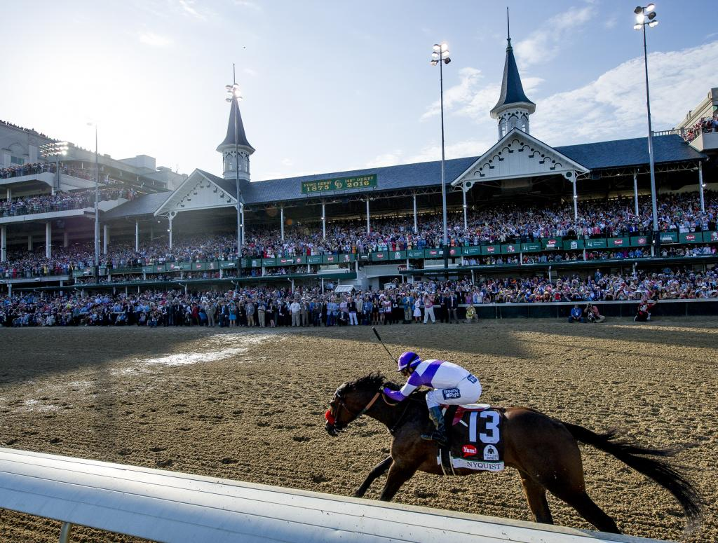 Nyquist held off Exaggerator to win the 2016 Kentucky Derby on May 7 at Churchill Downs. (Eclipse Sportswire)