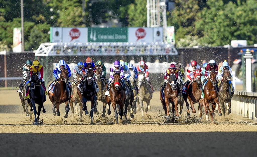 The field rushes out of the starting gate in the 2016 Kentucky Derby on May 7 at Churchill Downs. (Eclipse Sportswire)