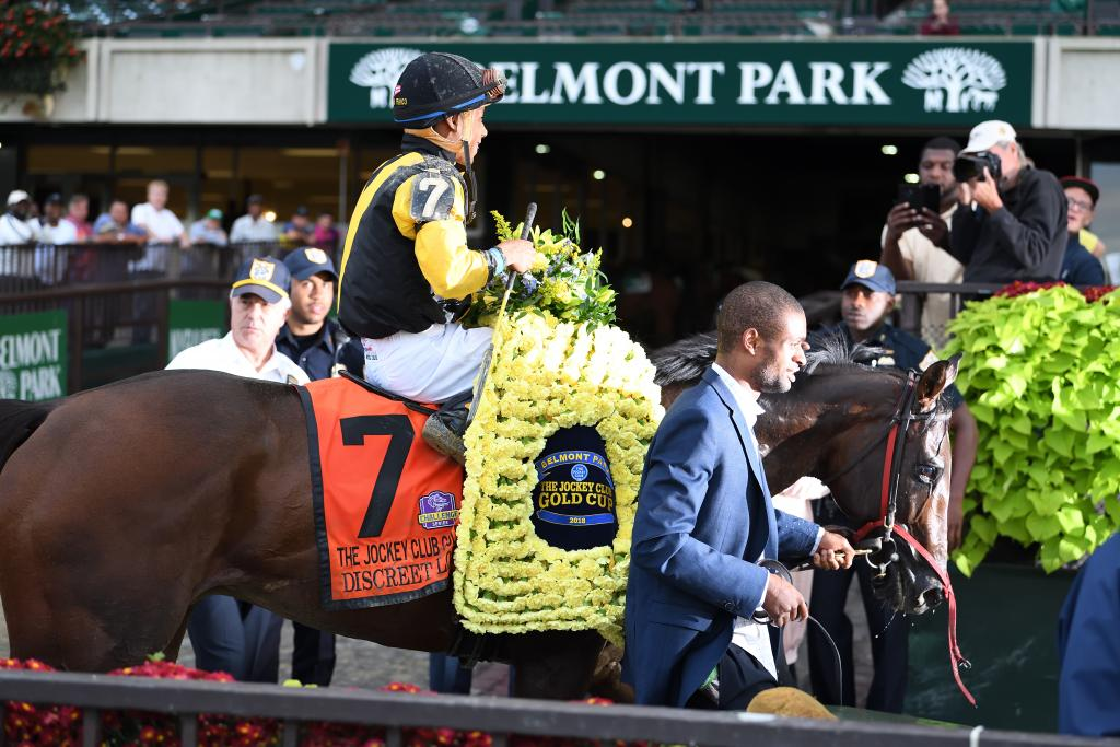 Discreet Lover after his upset win in the 2018 Jockey Club Gold Cup. (Viola Jasko/NYRA)