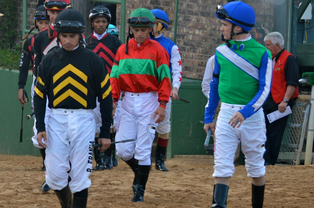 Jockeys before the Rebel Stakes. (Sara Dacus photo)