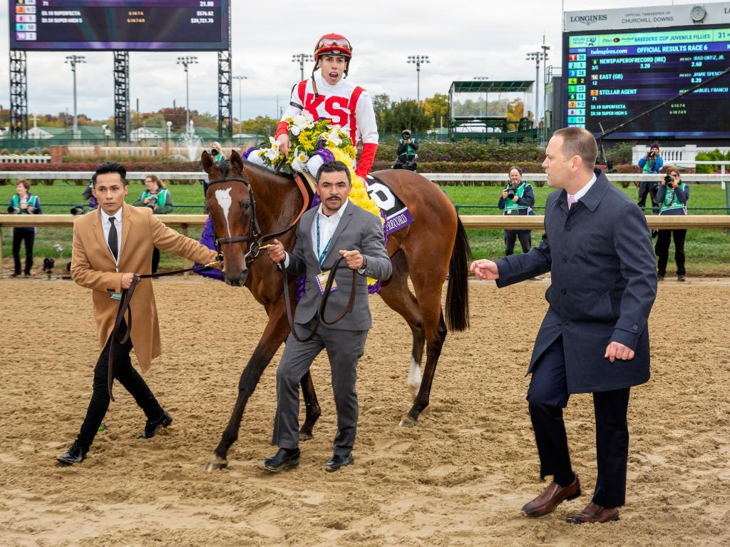 Dominant Juvenile Fillies Turf winner Newspaperofrecord with jockey Irad Ortiz Jr. and trainer Chad Brown (right).  (Eclipse Sportswire)