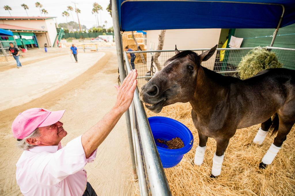Co-owner Peter Fluor and Santa Anita Derby winner Roadster. (Eclipse Sportswire)