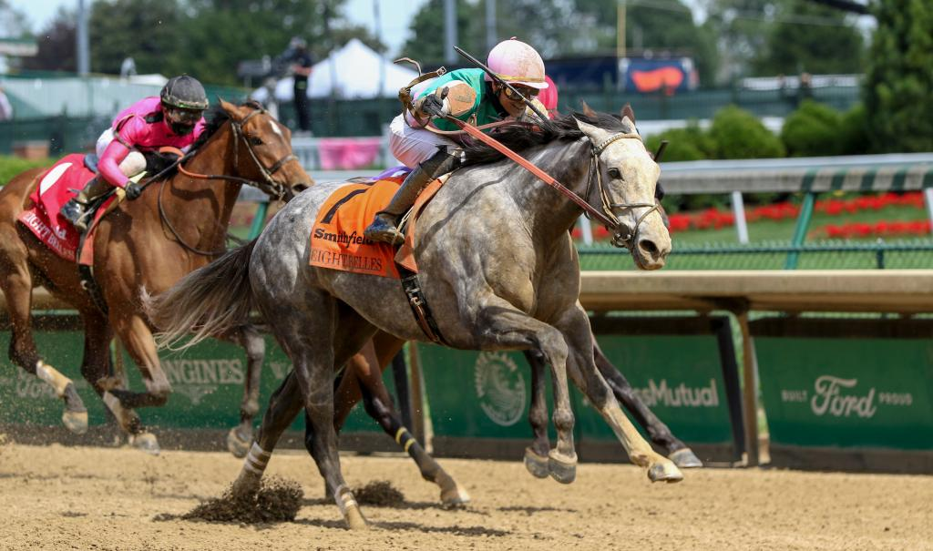 Obligatory winning the Eight Belles Stakes presented by Smithfield. (Eclipse Sportswire)