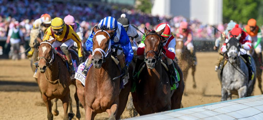 Malathaat, left, outfinished Search Results to win the Longines Kentucky Oaks.