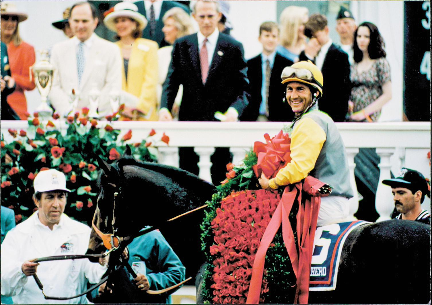 Bailey after winning the Kentucky Derby aboard Sea Hero.