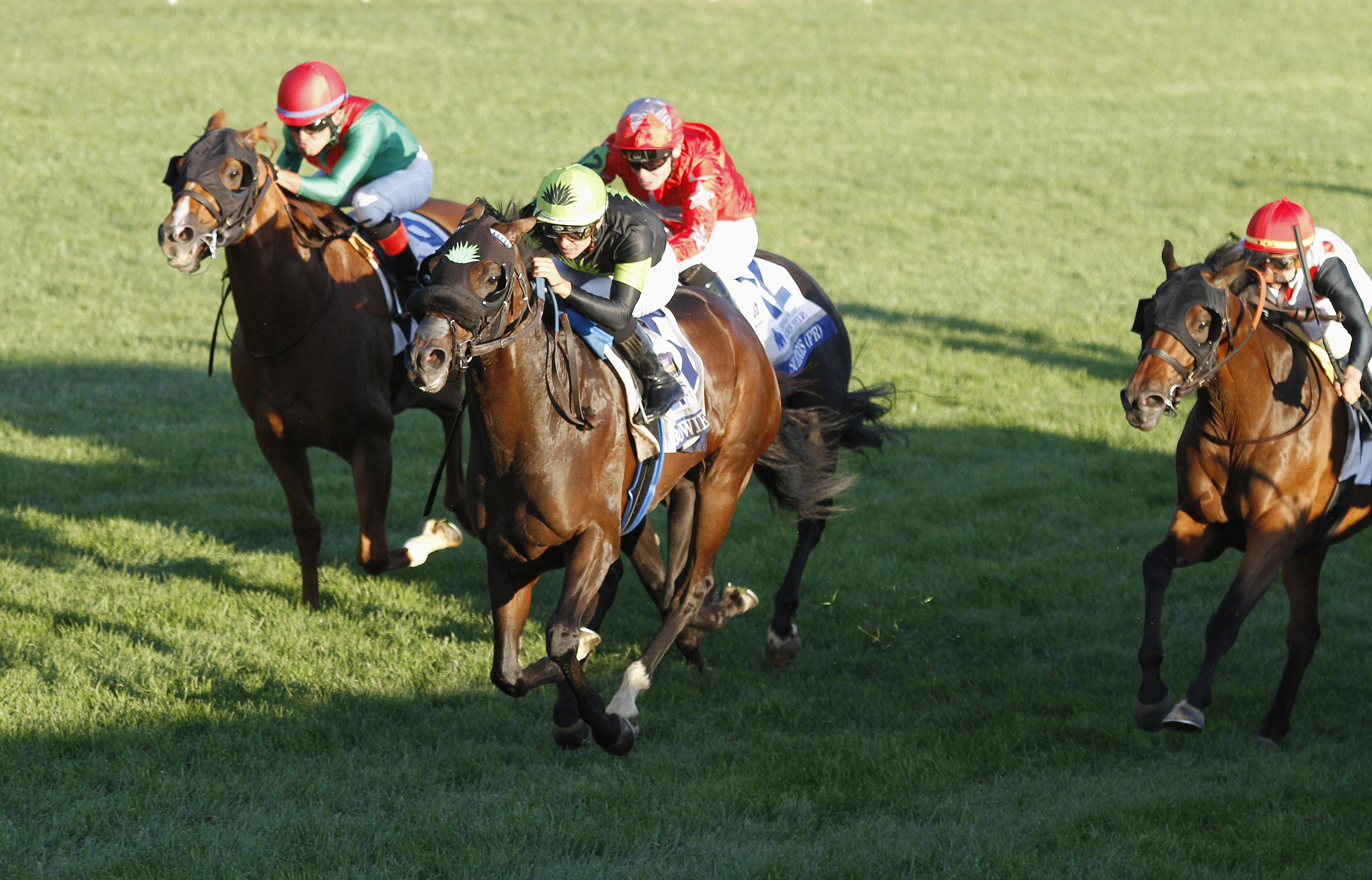 Bowies Hero streaks home in the Shadwell Turf Mile.