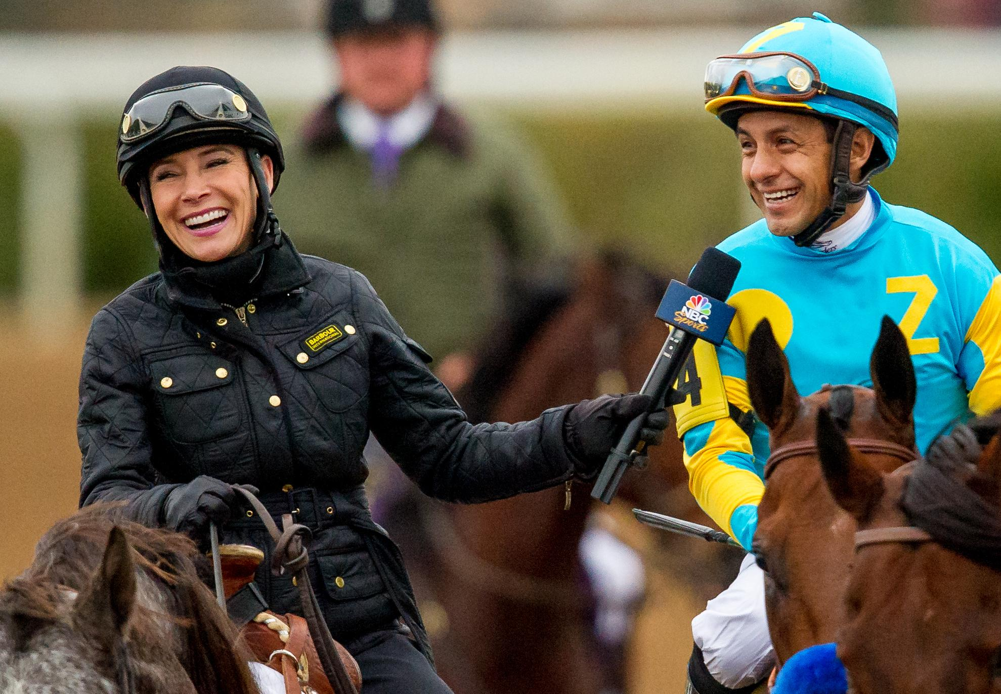 Barton Brothers shares a laugh with Victor Espinoza after he won the Breeders' Cup Classic aboard American Pharoah.