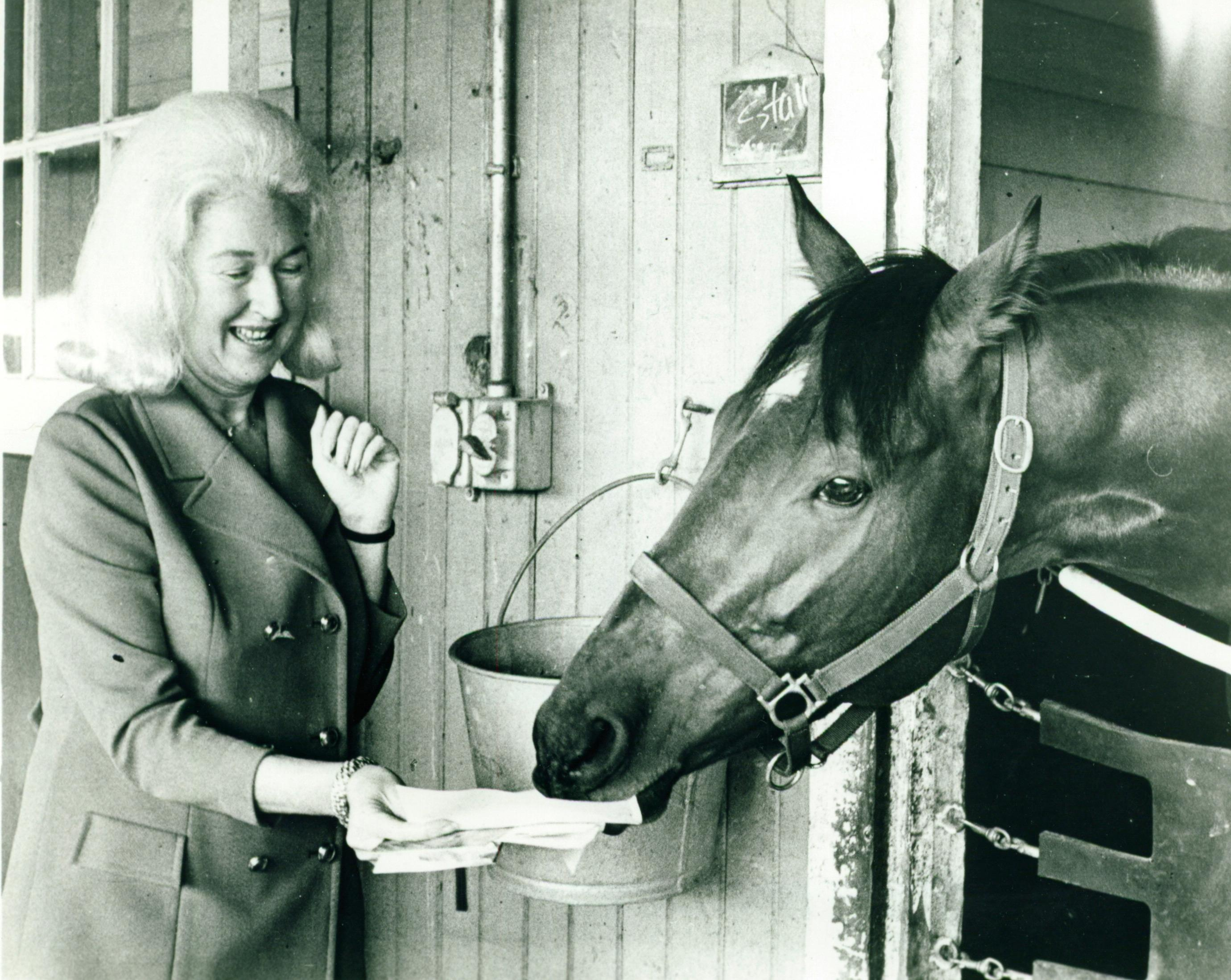 Canonero with Sandy Hirsch, wife of trainer Buddy Hirsch.