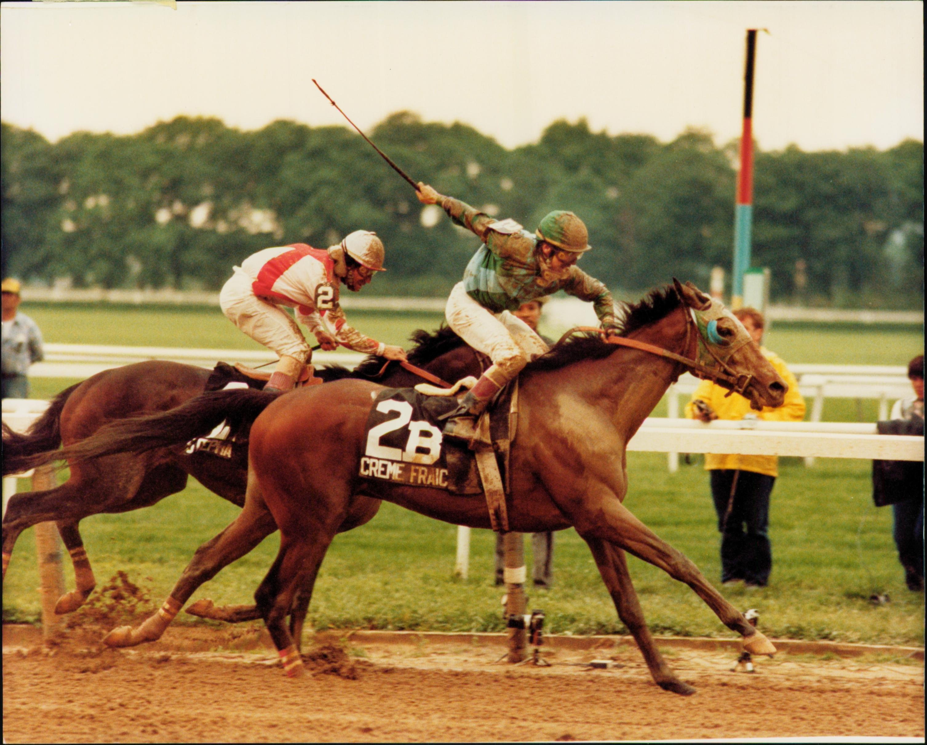 Maple and Creme Fraiche win the 1985 Belmont Stakes.