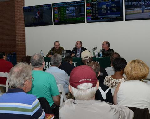 Beyer (right) joins Steven Crist and Andy Serling on a NYRA panel.