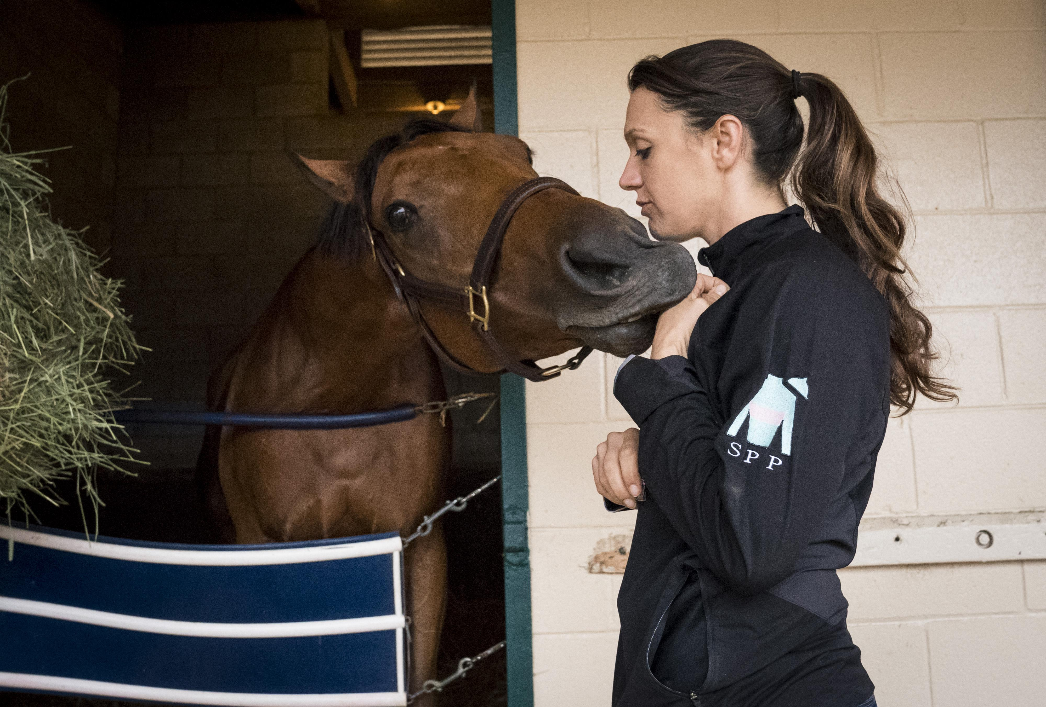 Cherie DeVaux with Lady Eli at Del Mar.
