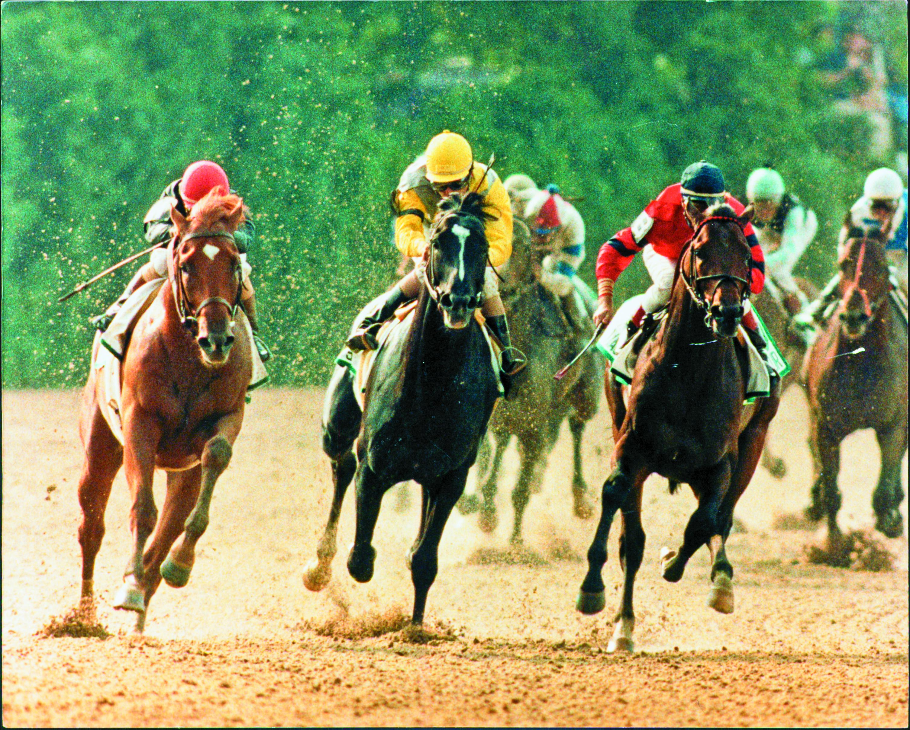 Easy Goer sweeps past Sunday Silence in the 1989 Belmont Stakes.