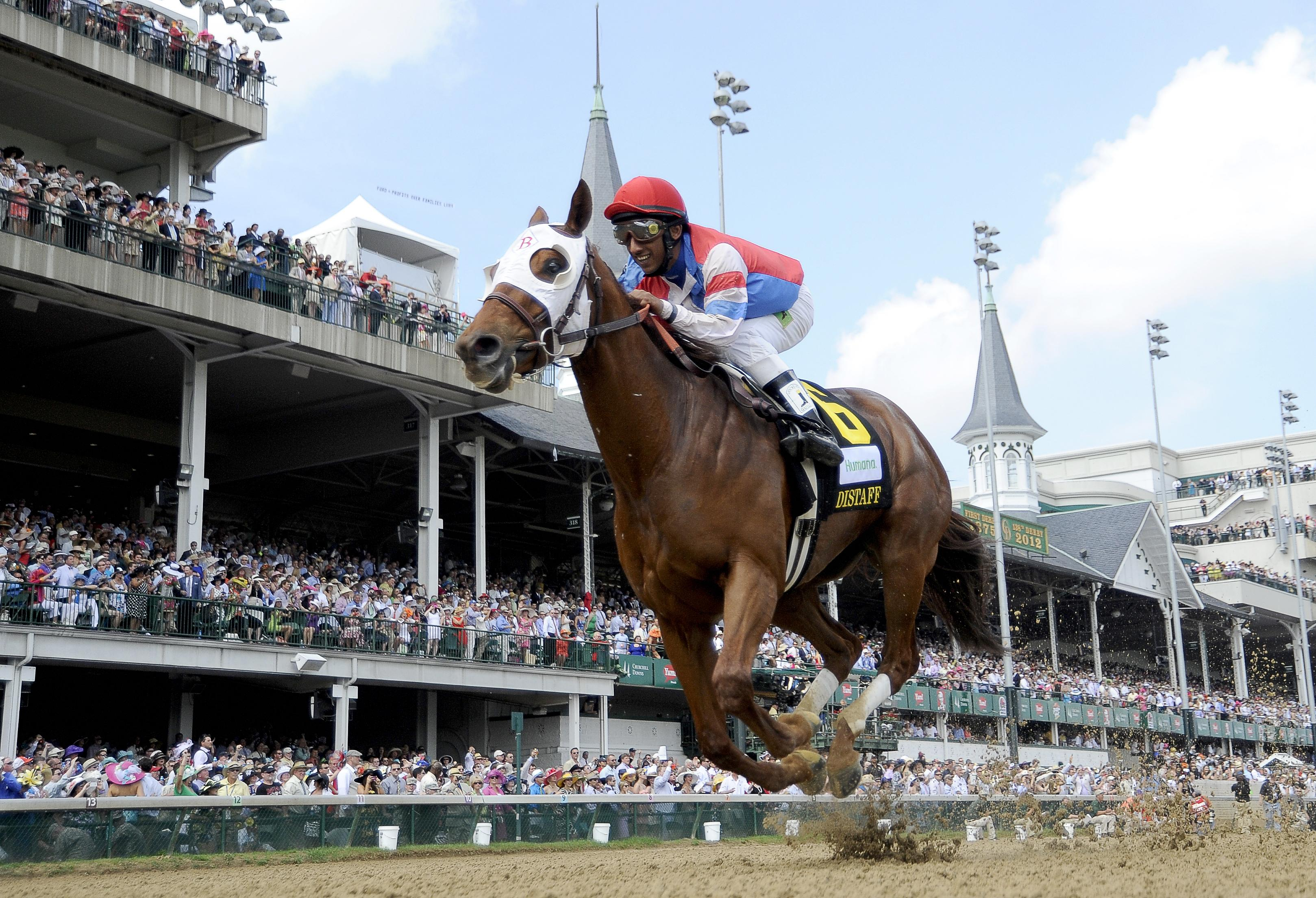 Groupie Doll wins the 2012 Humana Distaff Stakes.