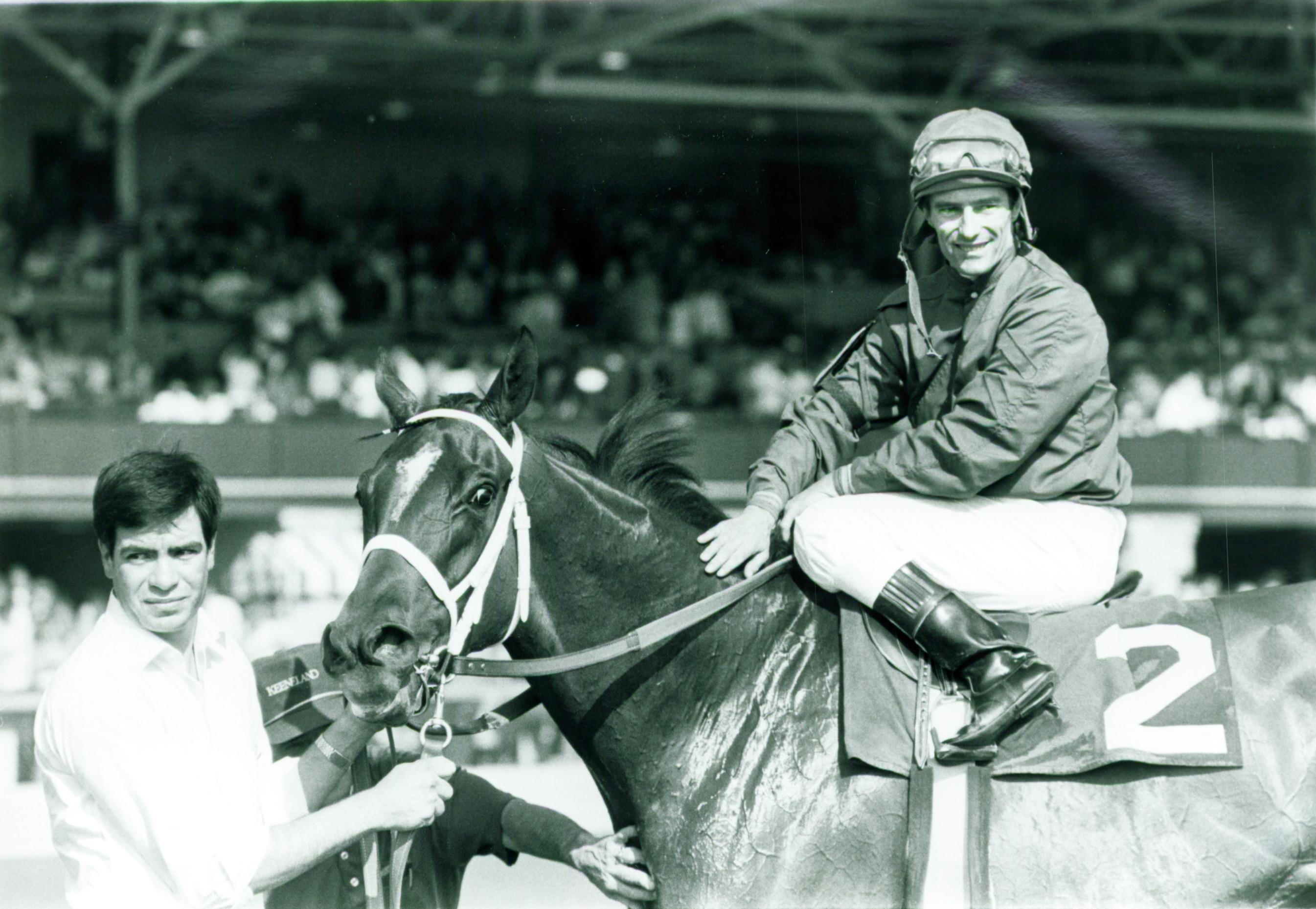 Hawley and Chic Shirine after winning the 1987 Ashland Stakes at Keeneland