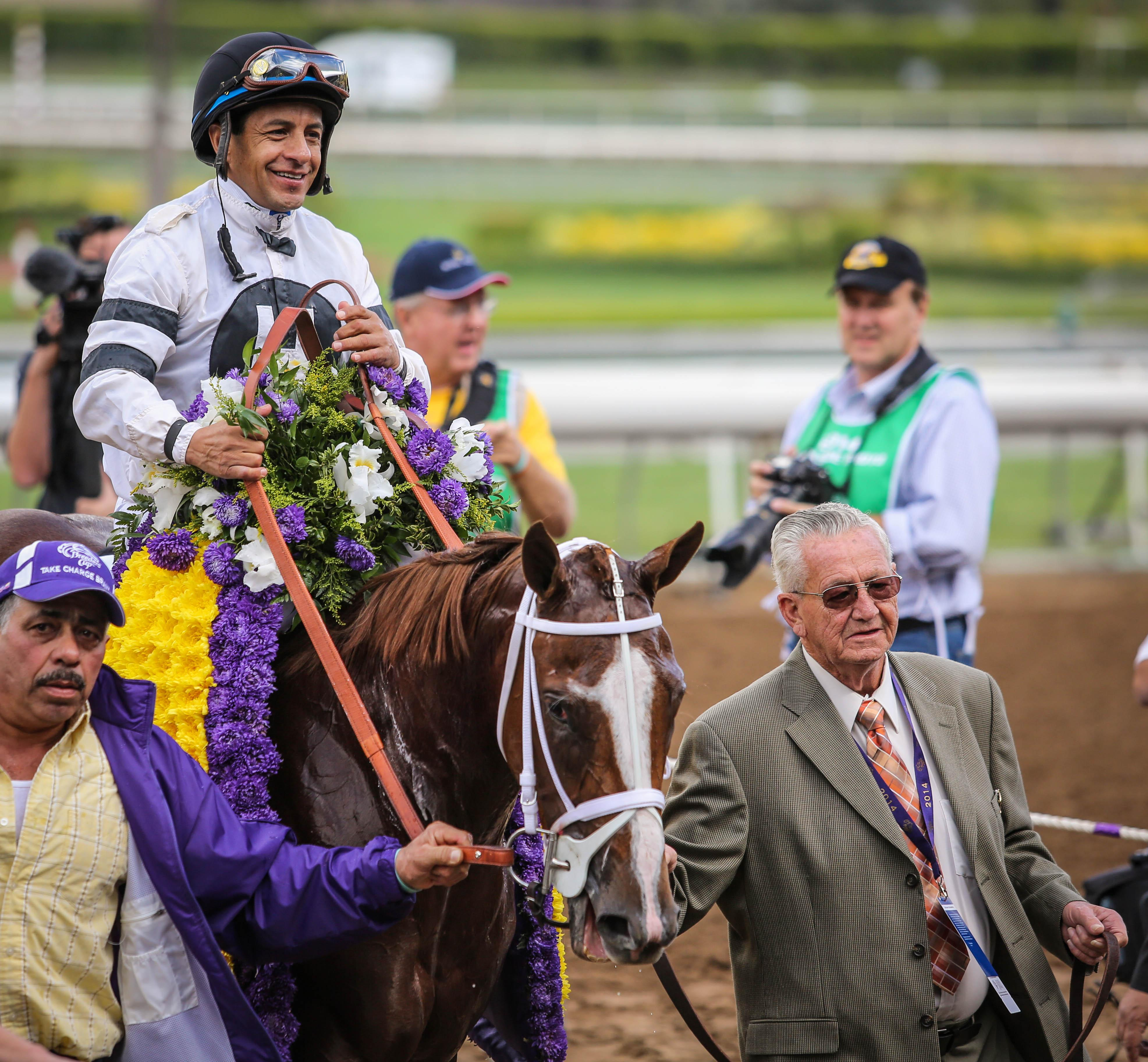 Horton and Take Charge Brandi after the Breeders' Cup